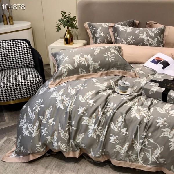 Серо-кремовый комплект постельного из тенселя Луговые травы
