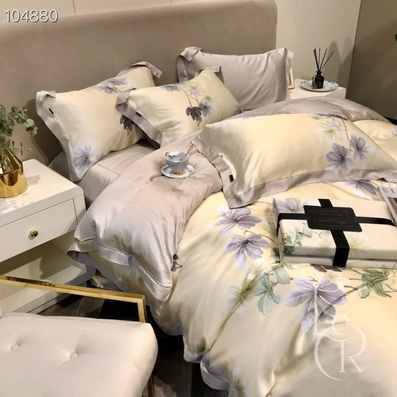 Лимонно-серый комплект постельного из тенселя Цветение