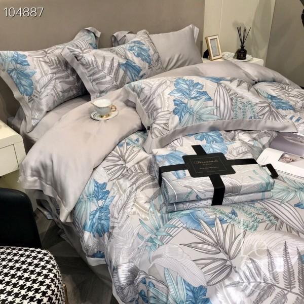 Серо-синий комплект постельного из тенселя Папоротник