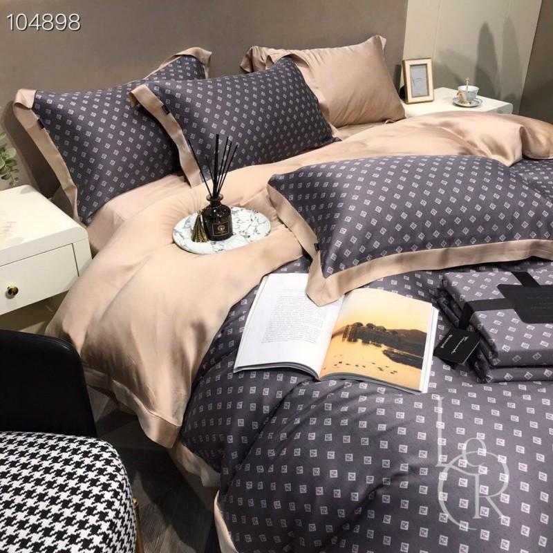 Кремово-черный комплект постельного из тенселя с ромбами