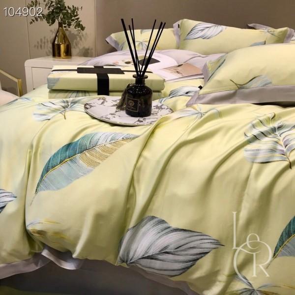 Лимонно-кремовый комплект постельного из тенселя Малахитовые листья