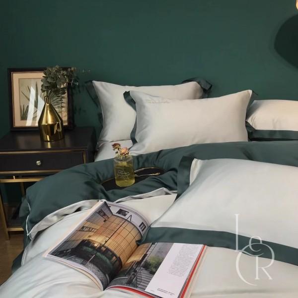 Малахитово-серый комплект постельного из тенселя с контрастным кантом