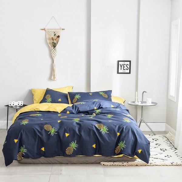 Сатин Люкс Синий с ананасами