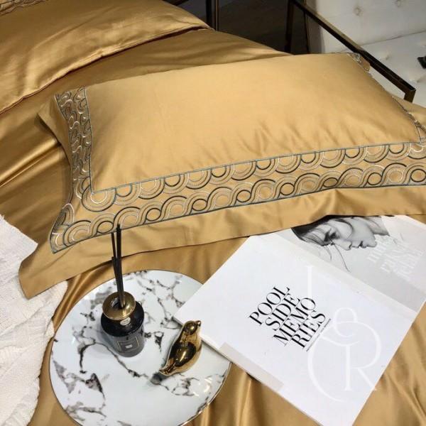 Єгипетська бавовна Гірчична з вишивкою 100S
