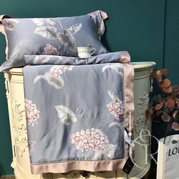 Летнее одеяло Тенсель (Эвкалипт) Серое с цветами