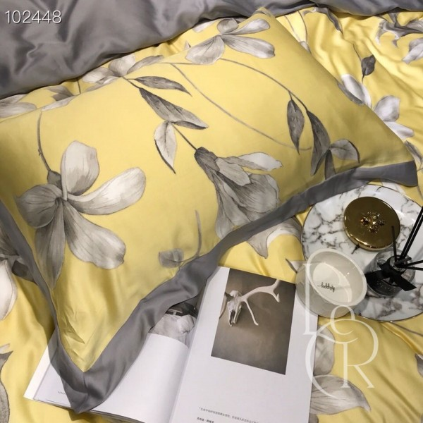 Тенсел (Евкаліптове волокно) Жовтий з сірими квітами