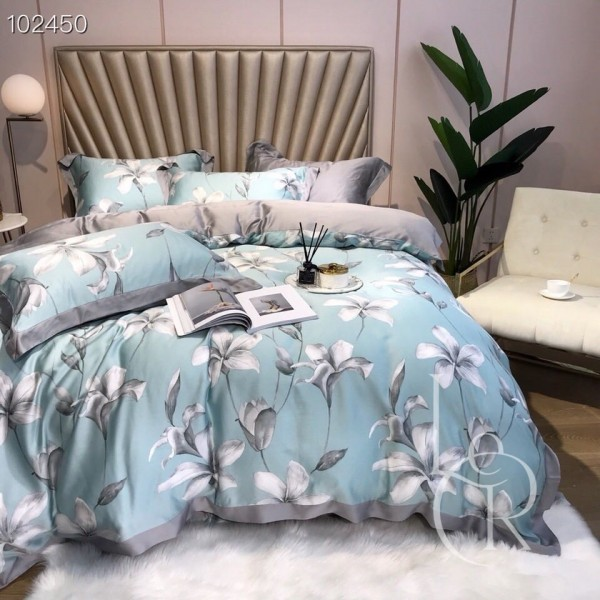 Тенсел (Эвкалиптовое волокно) Нежно-голубой с серыми цветами
