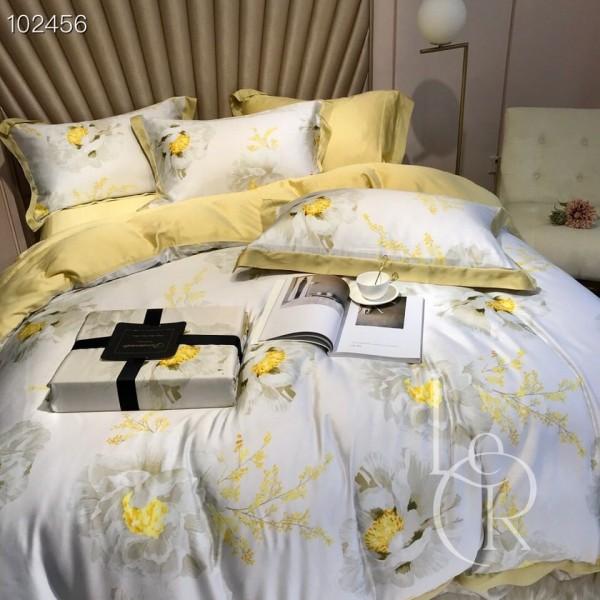 Тенсел (Эвкалиптовое волокно) Лимонно-белый с пионами