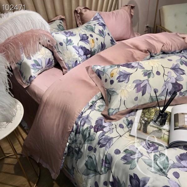 Тенсел (Эвкалиптовое волокно) Пудровый с лиловыми цветами