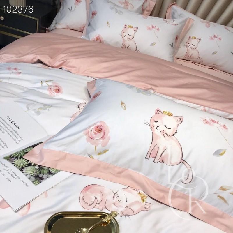 Египетский хлопок Нежно-розовый с котиками