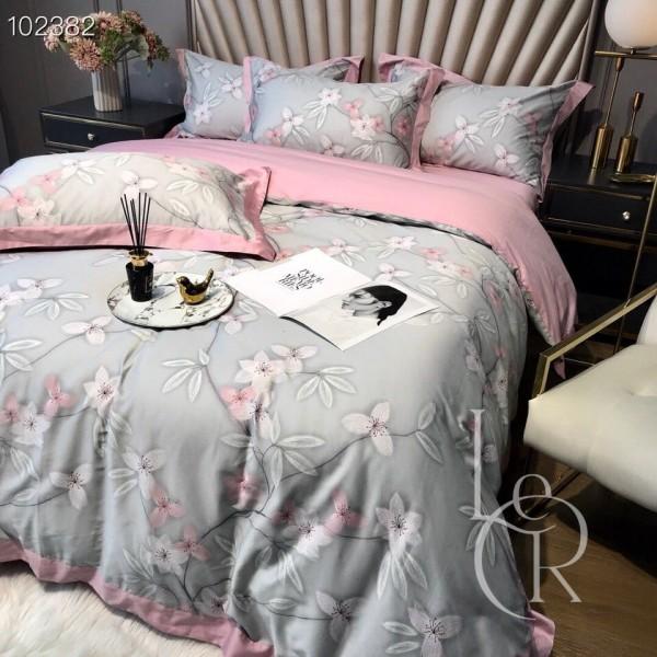 Египетский хлопок Розово-голубой с цветочным плетением
