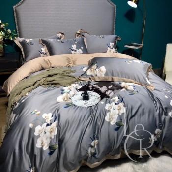 Тенсел (Эвкалиптовое волокно) Серый с орхидеями