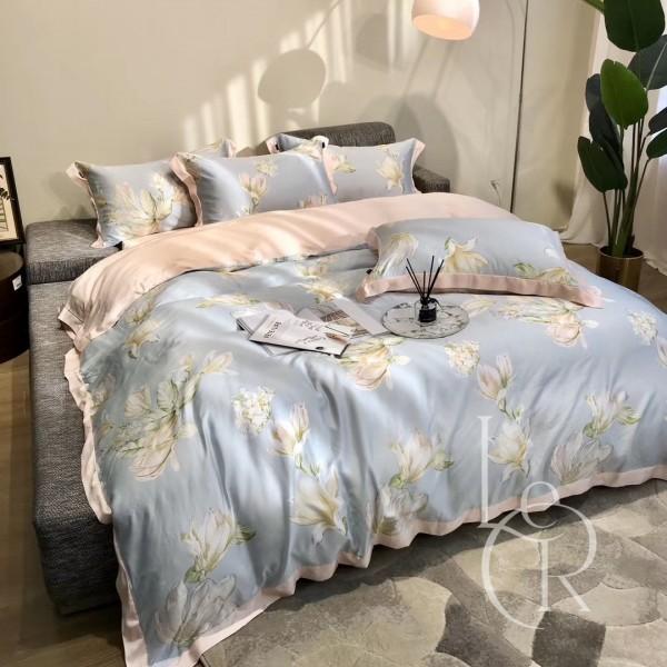 Тенсел (Эвкалиптовое волокно) Голубой с белыми цветами