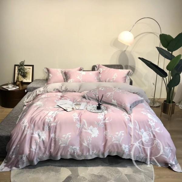 Тенсел (Эвкалиптовое волокно) Пудрово-розовый с цветами