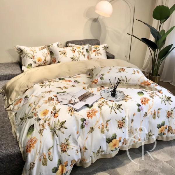 Тенсел (Эвкалиптовое волокно) Белый с желтыми цветами