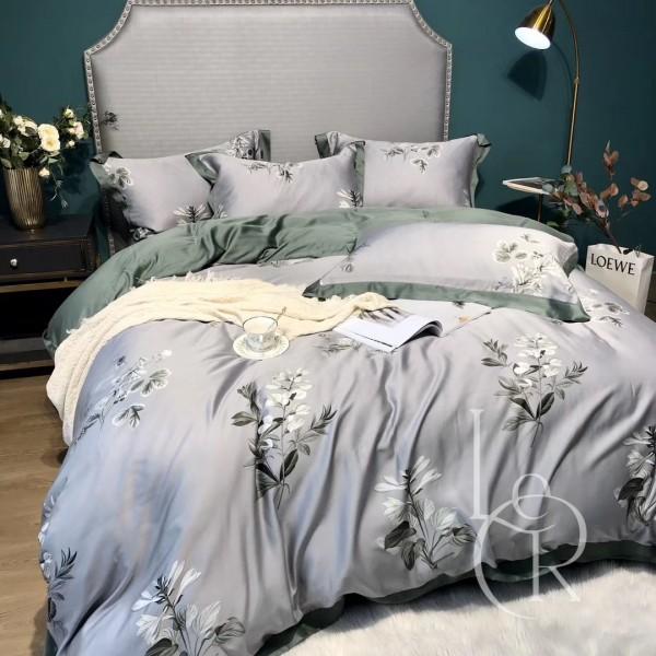 Тенсел (Эвкалиптовое волокно) Серо-зеленый с цветами