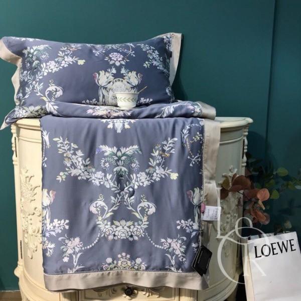 Летнее одеяло Тенсель (Эвкалипт) Графитовое с цветочным орнаментом