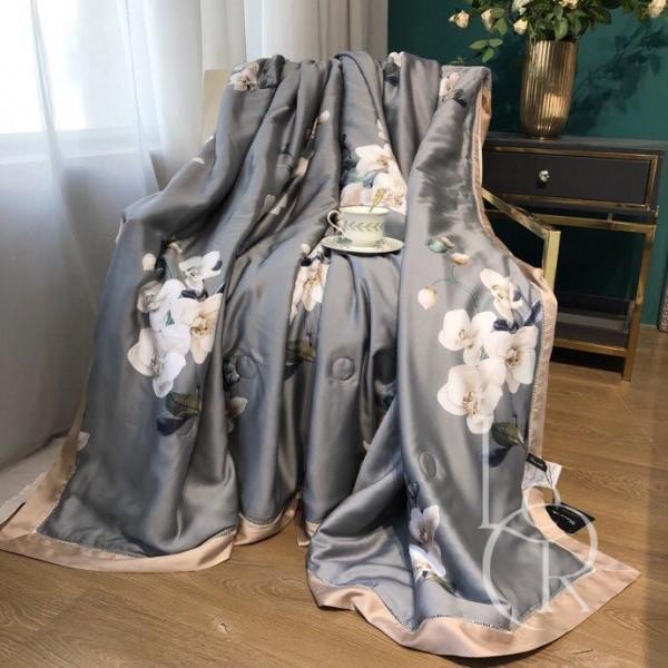 Летнее одеяло Тенсель (Эвкалипт) Серое с орхидеями