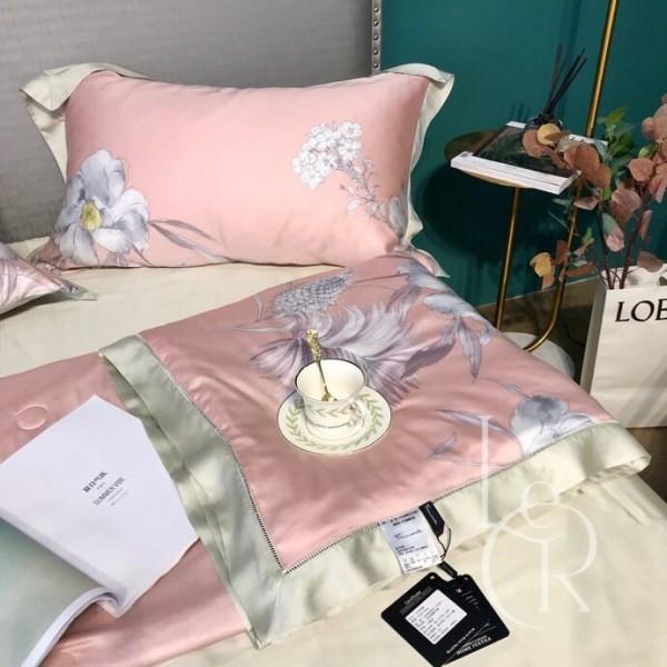 Летнее одеяло Тенсель (Эвкалипт) Розовое с цветами