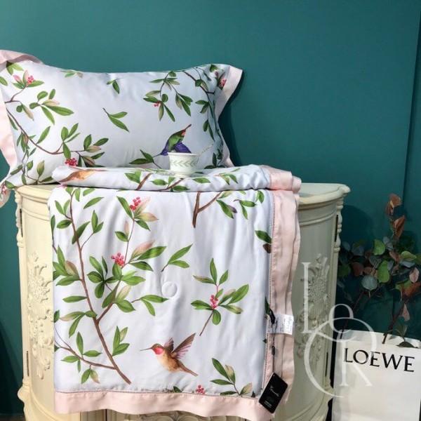 Летнее одеяло Тенсель (Эвкалипт) Нежно-розовое с цветами