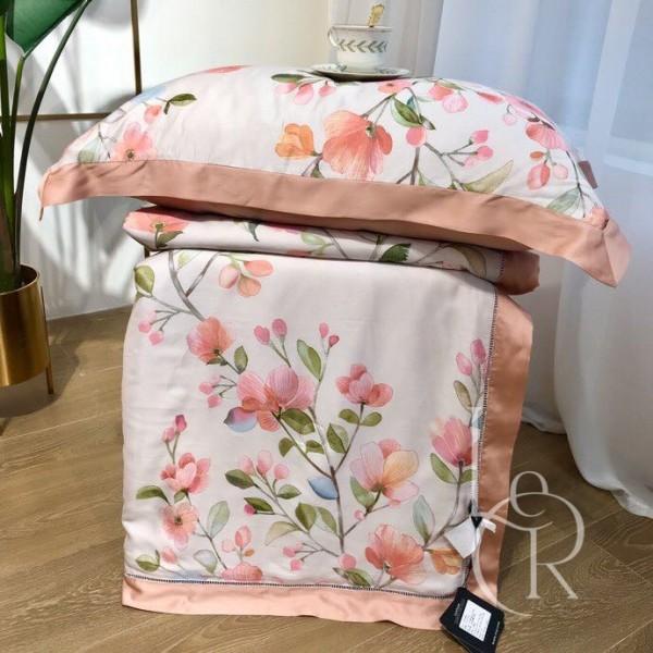Летнее одеяло Тенсель (Эвкалипт) Коралловое с акварельными цветами