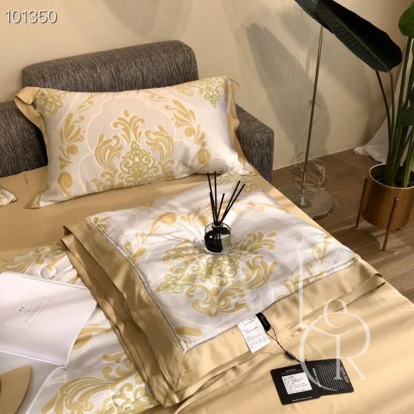 Летнее одеяло Тенсель (Эвкалипт) Горчичное с восточным мотивом