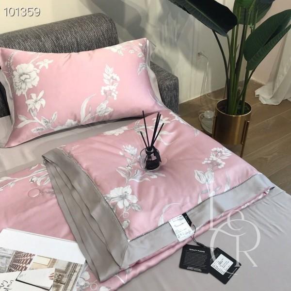 Летнее одеяло Тенсель (Эвкалипт) Пудрово-розовое с цветами