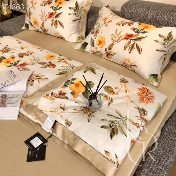 Летнее одеяло Тенсель (Эвкалипт) Белое с желтыми цветами