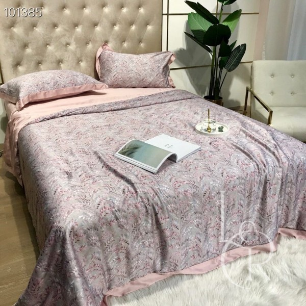 Летнее одеяло Тенсель (Эвкалипт) Розовое с полевыми веточками