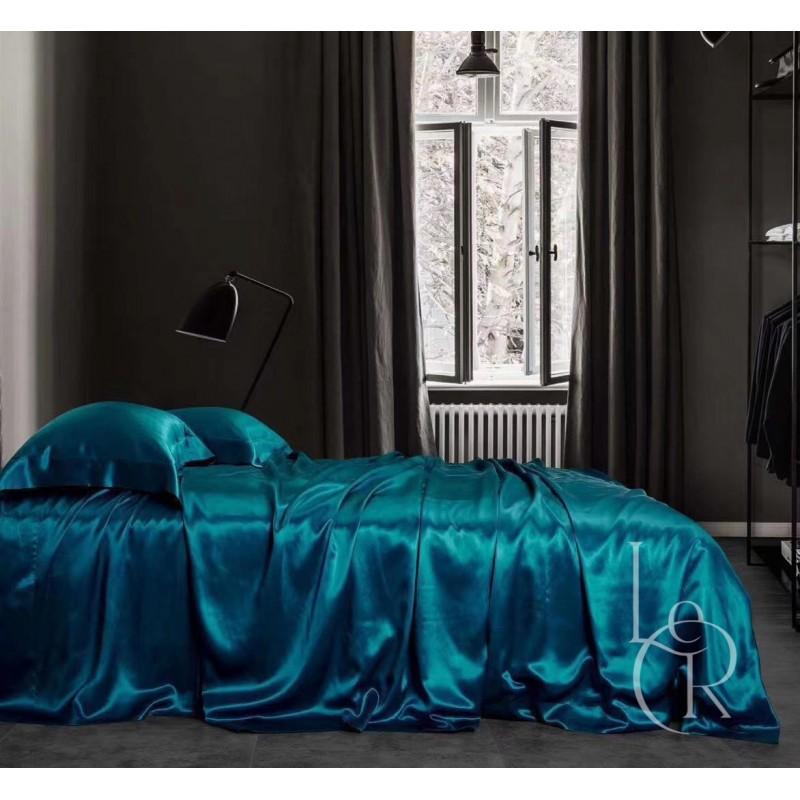 Комплект постельного из шелка Чернильный синий