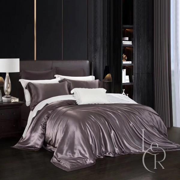 Комплект постельного из шелка Лилово-коричневый
