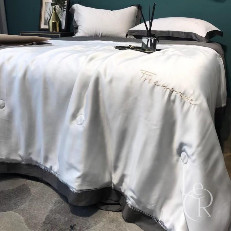 Серо-антрацитовое одеяло из тенселя с контрастным кантом