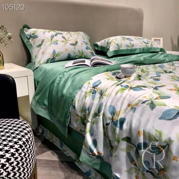 Нефритово-белое одеяло из тенселя Цветущие ветви