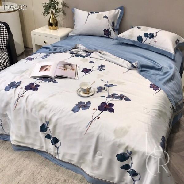 Летнее одеяло Тенсель (Эвкалипт) Бело-синее Чернильные цветы