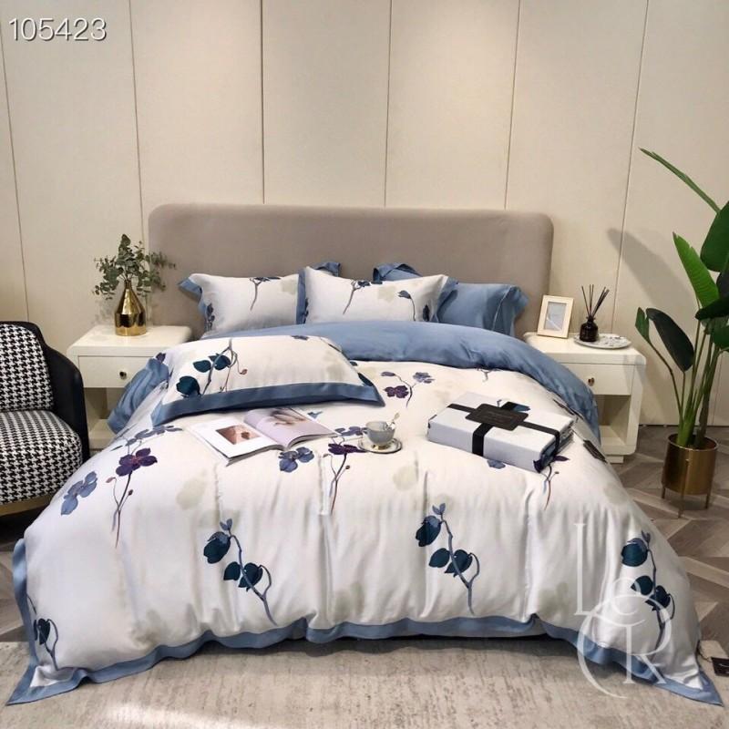 Бело-синий комплект постельного из тенсела Чернильные цветы