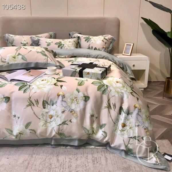 Розово-серый комплект постельного из тенсела Экзотические розы