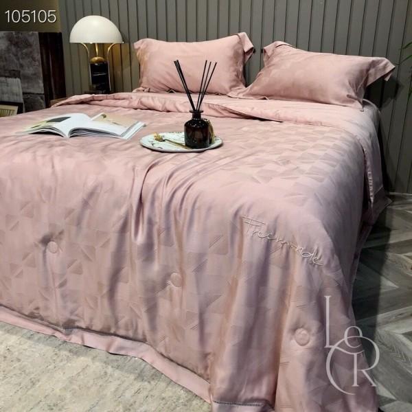 Летнее одеяло Тенсель-Жаккард (Эвкалипт) Холодный розовый + комплект