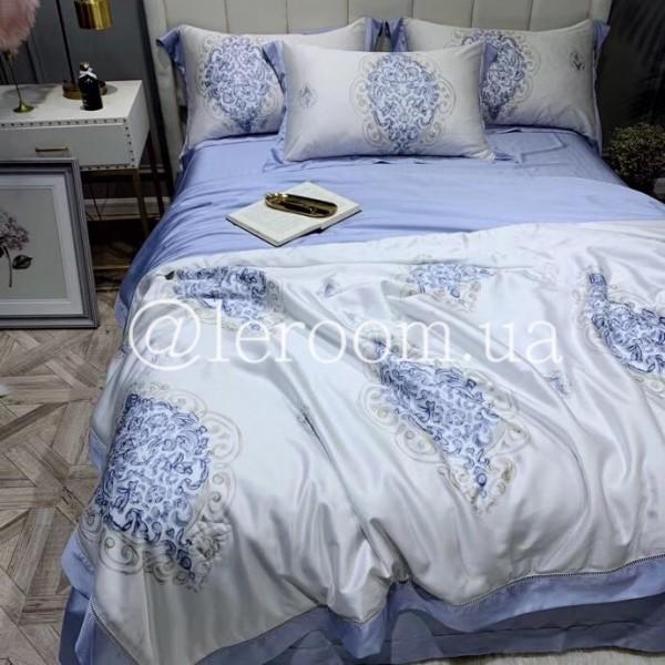Летнее одеяло Тенсель (Эвкалипт) Насыщенный голубой + комплект