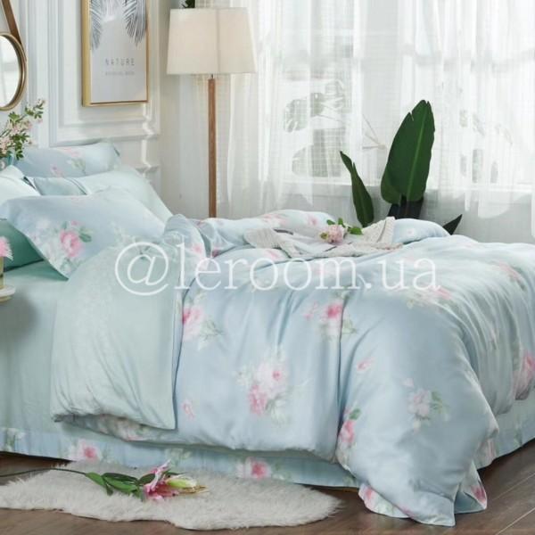 Тенсел (Эвкалиптовое волокно) Голубой с розами