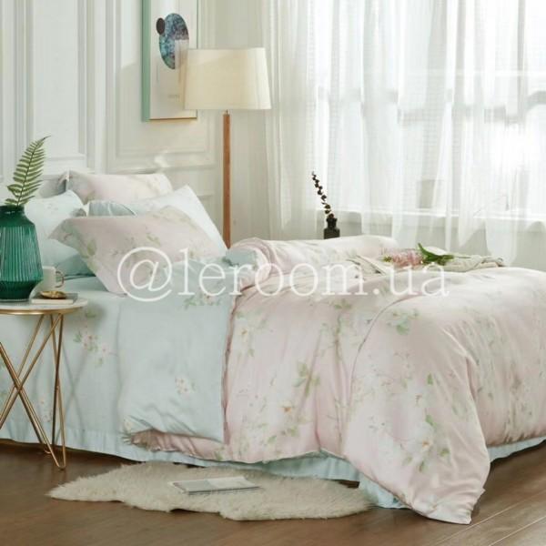 Тенсел (Эвкалиптовое волокно) Розово-голубой с цветами