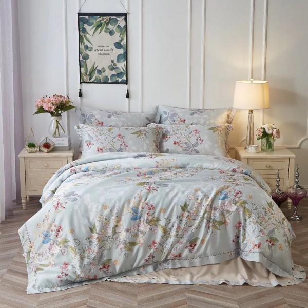 Тенсел (Эвкалиптовое волокно) Нежно-голубой с цветами