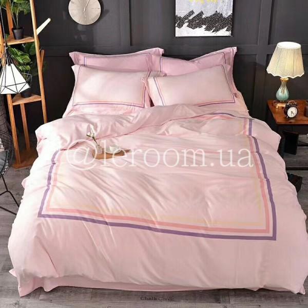 Тенсел (Эвкалиптовое волокно) Пудровый-розовый с полосочками