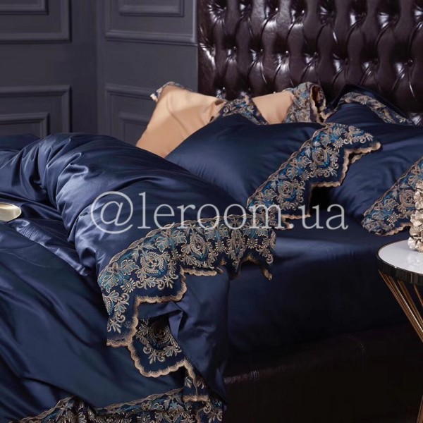 Египетский хлопок Темно-синий с отделкой из кружева
