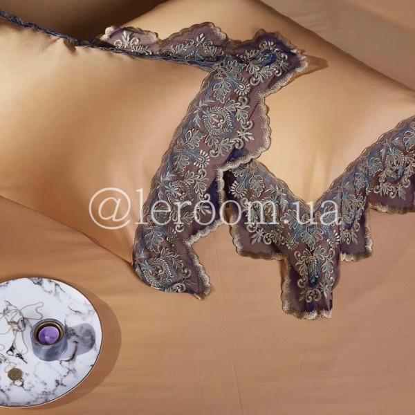 Египетский хлопок Песочный с отделкой из кружева