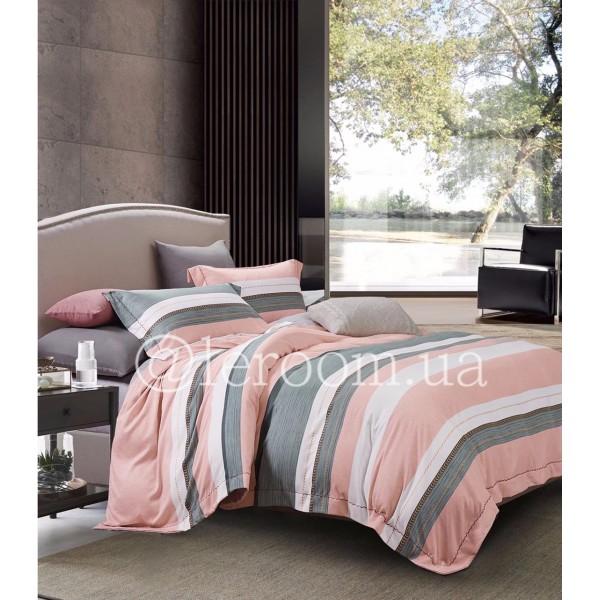Тенсел (Эвкалиптовое волокно) Розово-серый в полососку