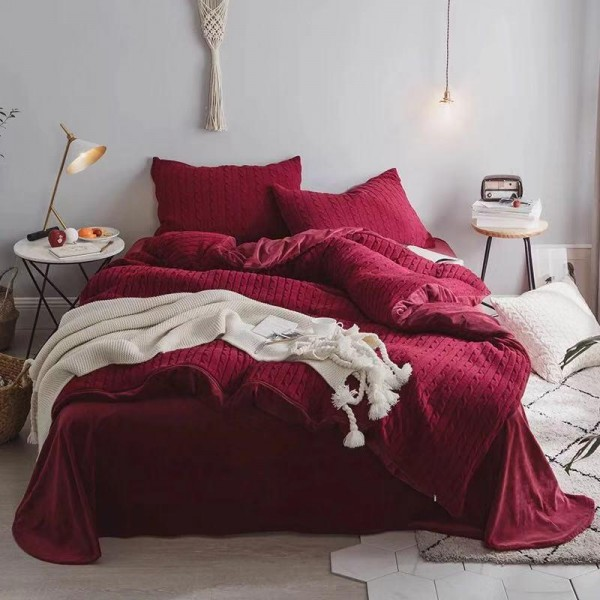 Велюровый зимний комплект Бордовый
