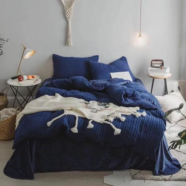 Велюровый зимний комплект Синий