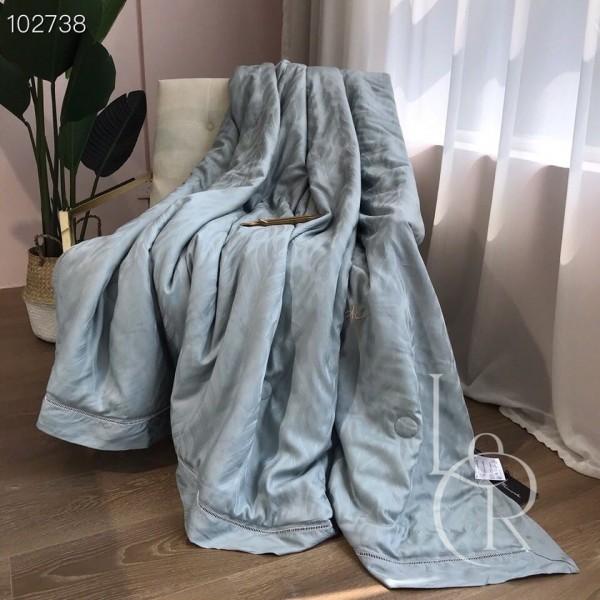 Летнее одеяло Тенсель-Жаккард (Эвкалипт) Серо-мятное + комплект