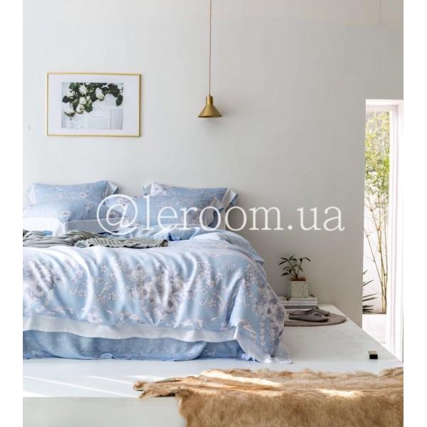 Тенсел (Эвкалиптовое волокно) Голубой с серыми цветами