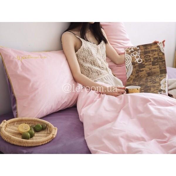 Зимний комплект из велюра Розовый с сиреневым